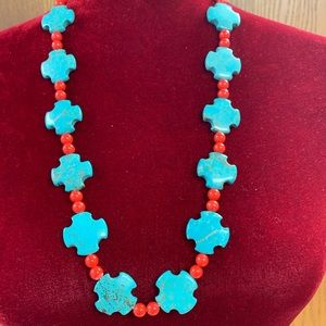 Jewelry - Handmade turquoise crosses & red bead necklace